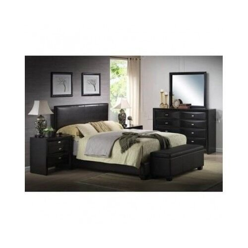 Best Platform Queen Size Bed Upholstered Black Leather With Pictures