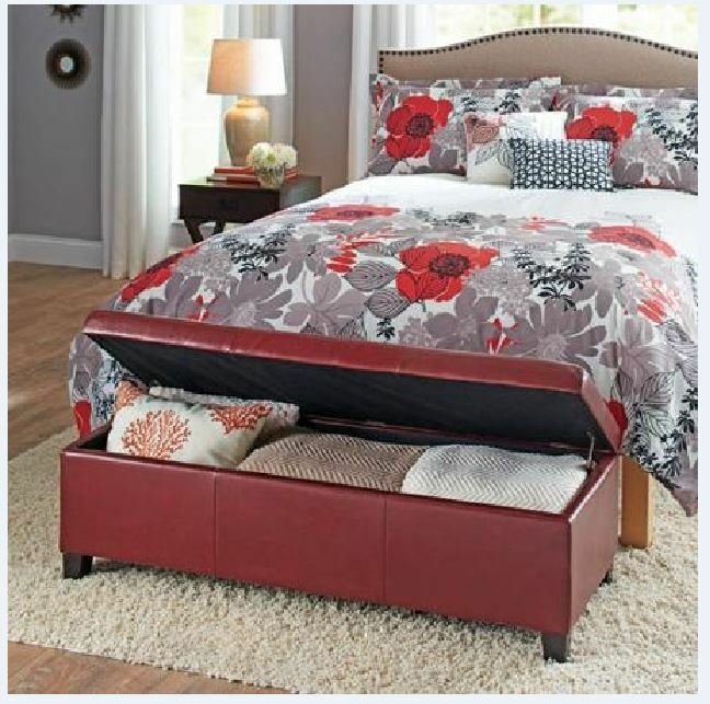 Best Upholstered Storage Ottoman Red Sitting Bench Coffee Table Bedroom Furniture New Ebay With Pictures