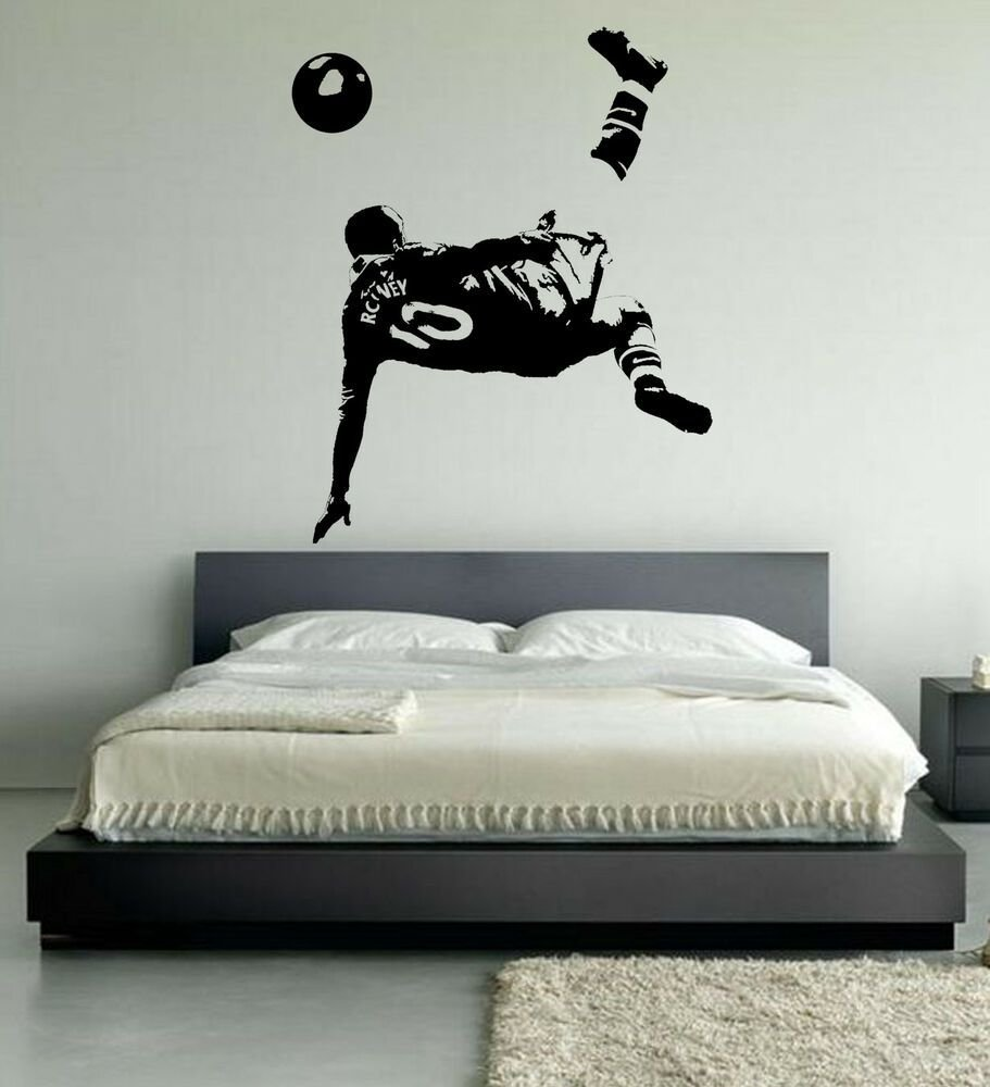 Best Wayne Rooney Football Wall Art Stickers Over Head Kick Manchester United Player Ebay With Pictures