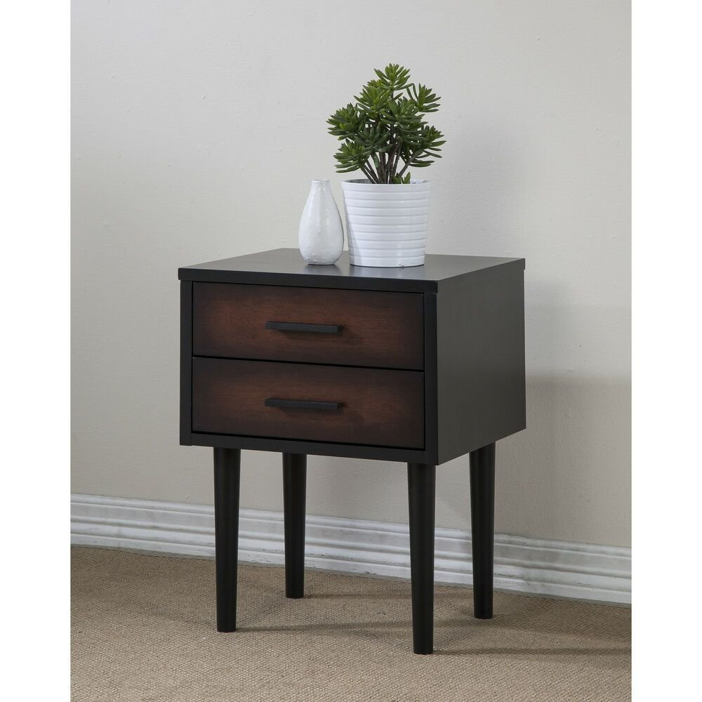 Best Night Stand Preston 2 Drawer Cherry Black Nightstand With Pictures