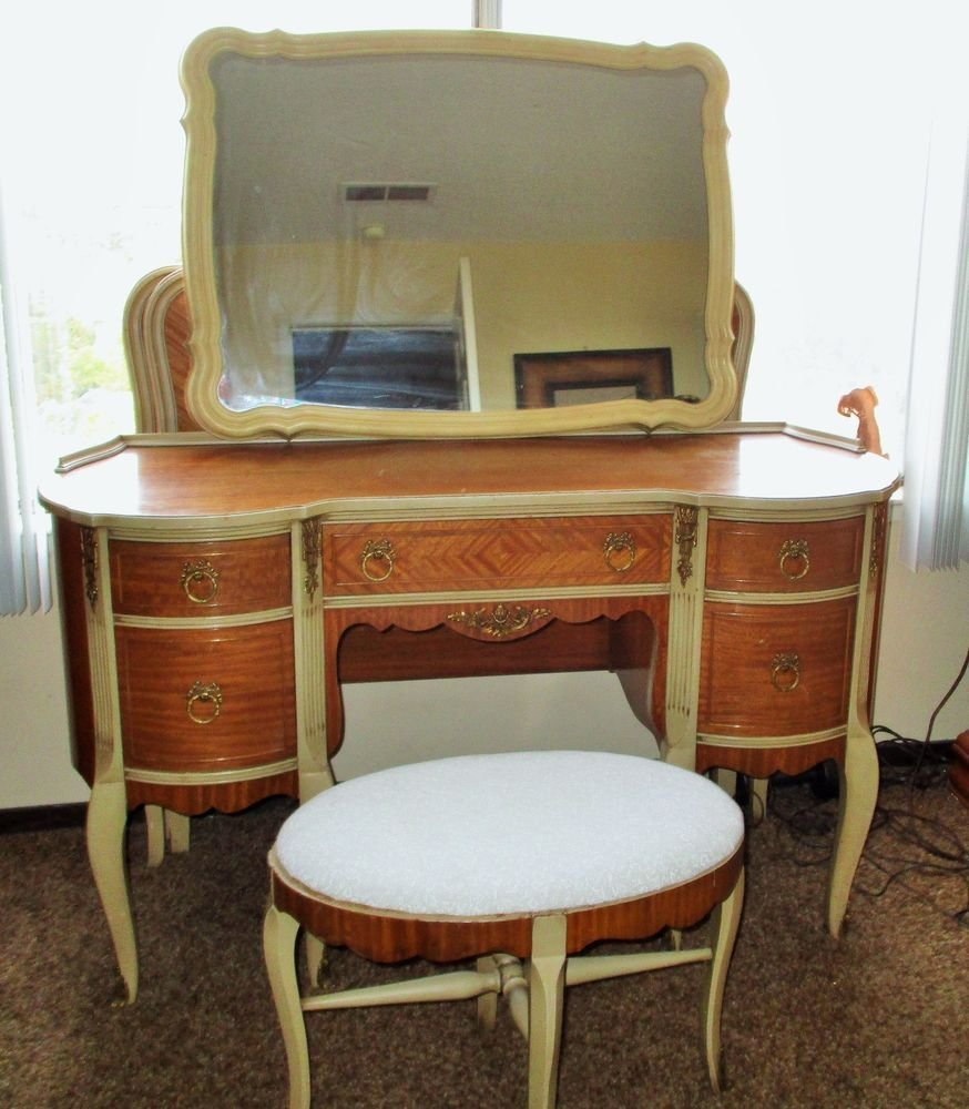 Best Antique Bedroom Vanity Chair Stool Desk Set Satin Wood Louis Xvi Brass Claw Feet Ebay With Pictures