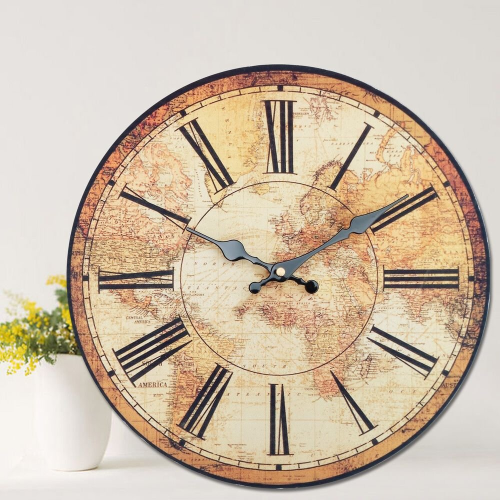 Best Vintage Style Wall Clock Kitchen Home World Map Globe With Pictures