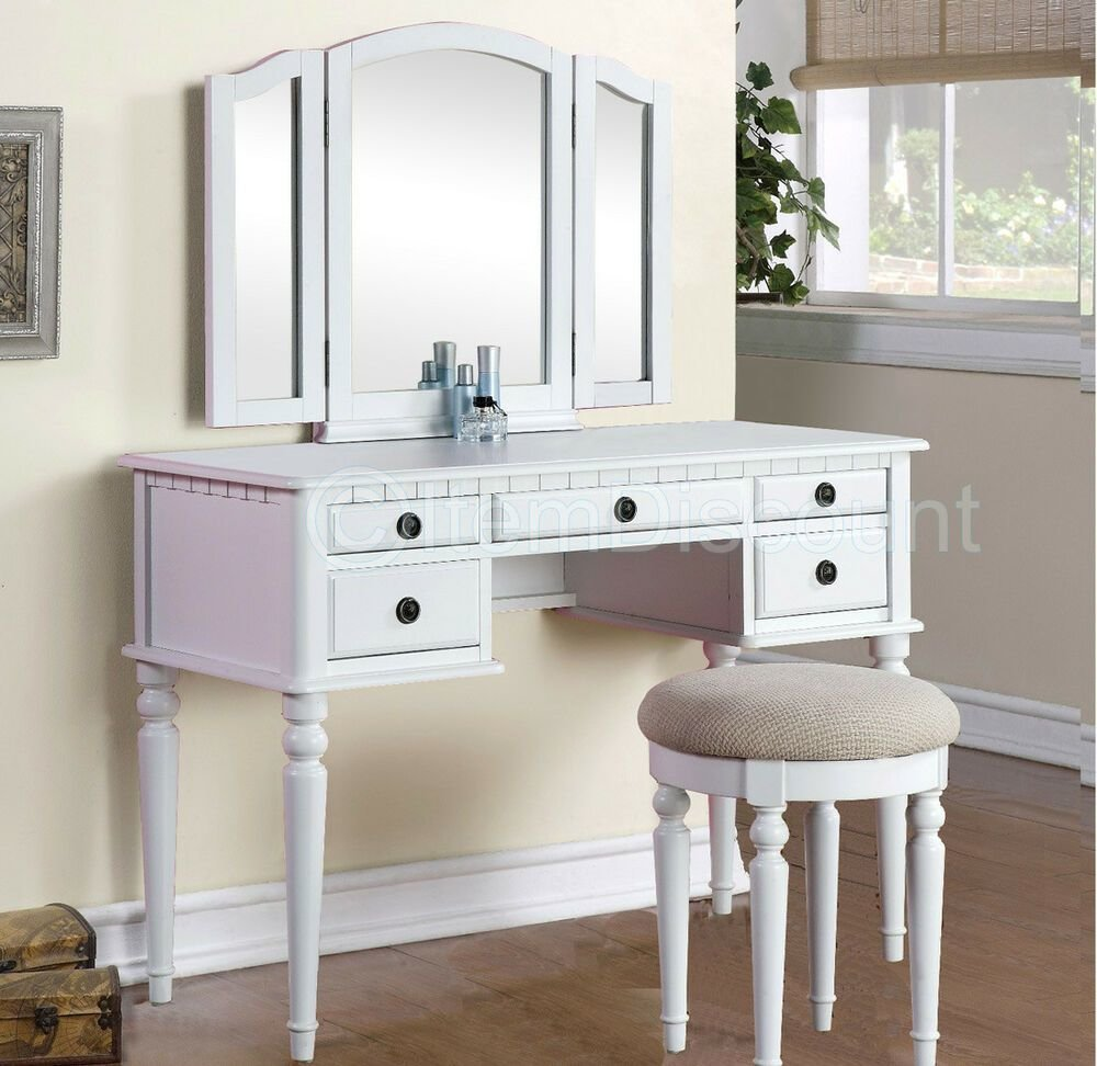 Best Tri Fold White Vanity Makeup 3 Mirror Table Set Dresser With Pictures