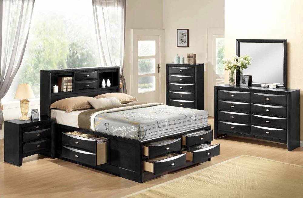 Best Traditional Black King Size 5 Piece Bedroom Set With With Pictures