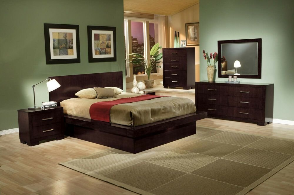 Best King Queen Size Beds Contemporary Style 4Pcs Bedroom Furniture Set In Cappuccino Ebay With Pictures