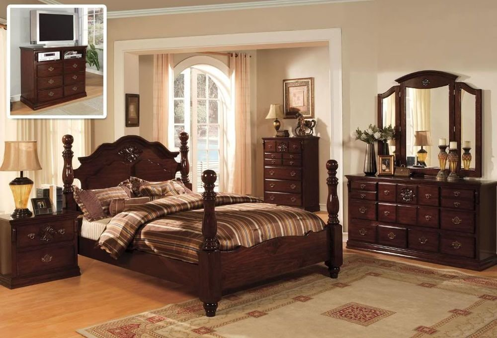 Best Classic Italian Style Queen King 4 Pc Set Bedroom Antique Furnitur Tucson Cm7571 Ebay With Pictures