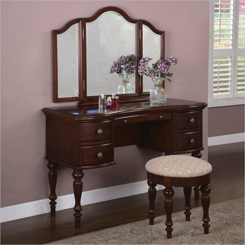Best Marquis Cherry Bedroom Vanity Makeup Station Table Mirror Stool Furniture Home Ebay With Pictures
