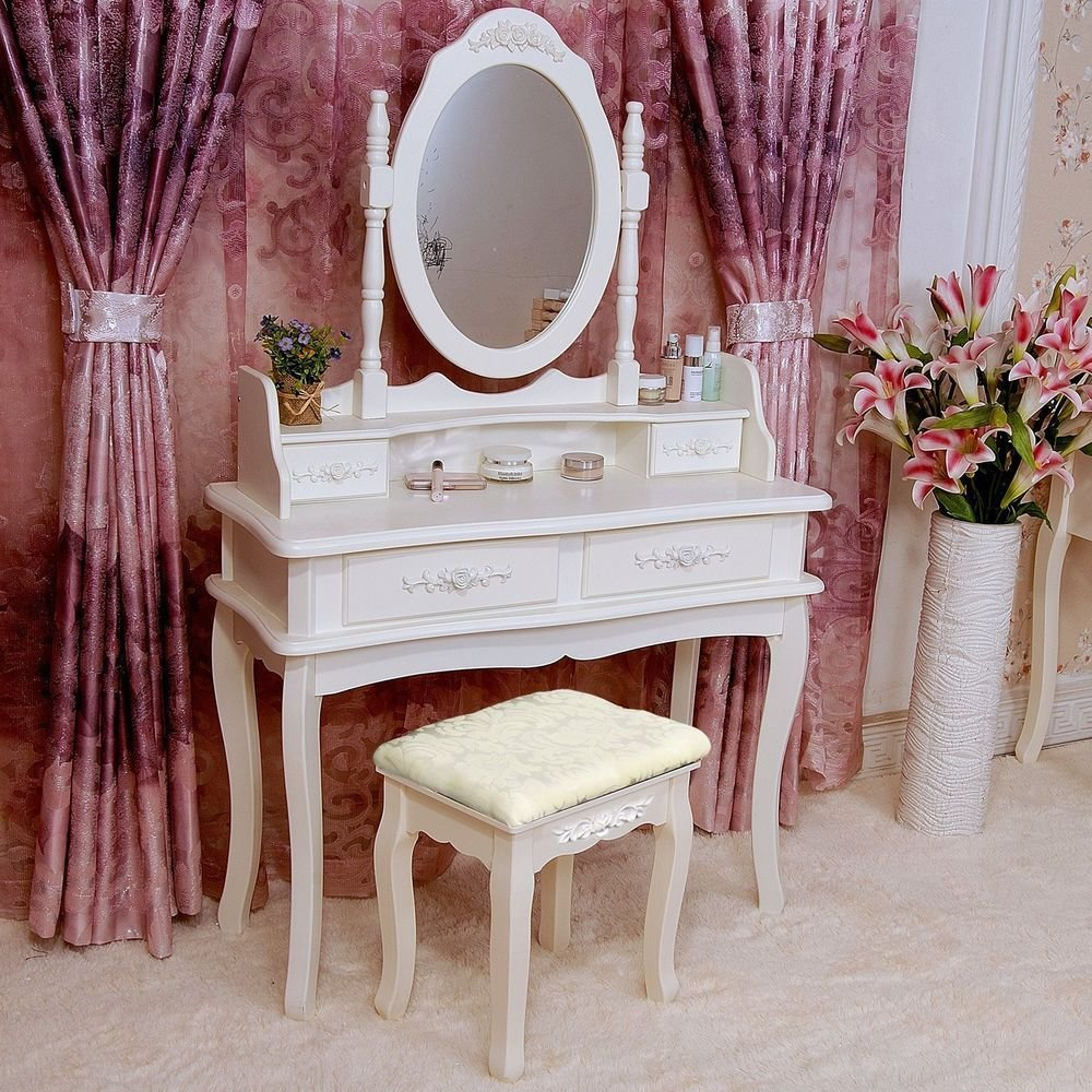 Best Shabby Chic Dressing Table Mirror Stool Set Vanity With Pictures
