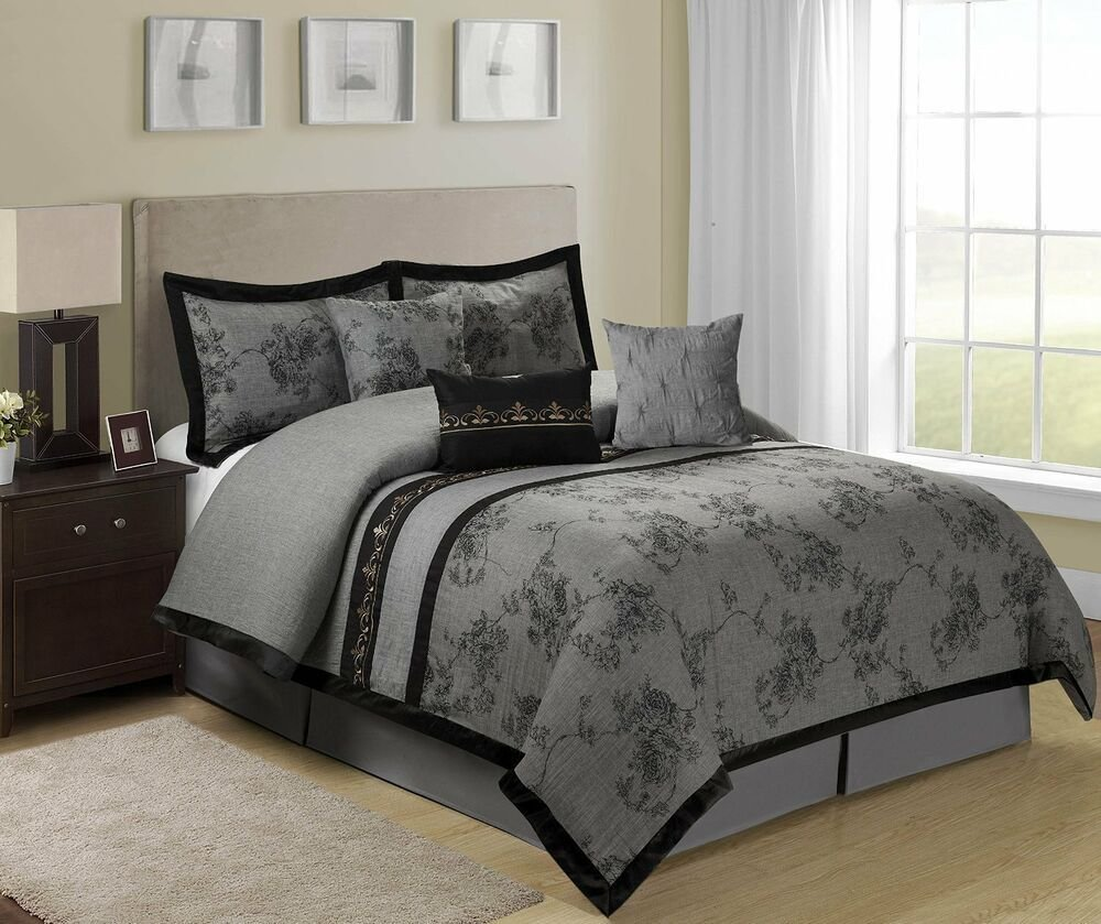 Best 7 Piece Shasta Jacquard Floral Bed In A Bag Comforter Sets With Pictures