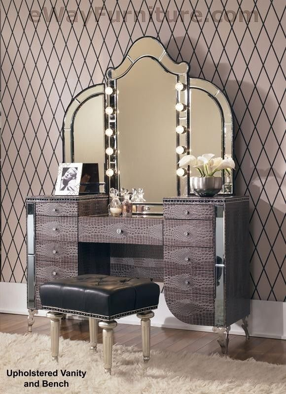 Best Upholstered Vanity Mirror Bench Crystal Accents With Pictures