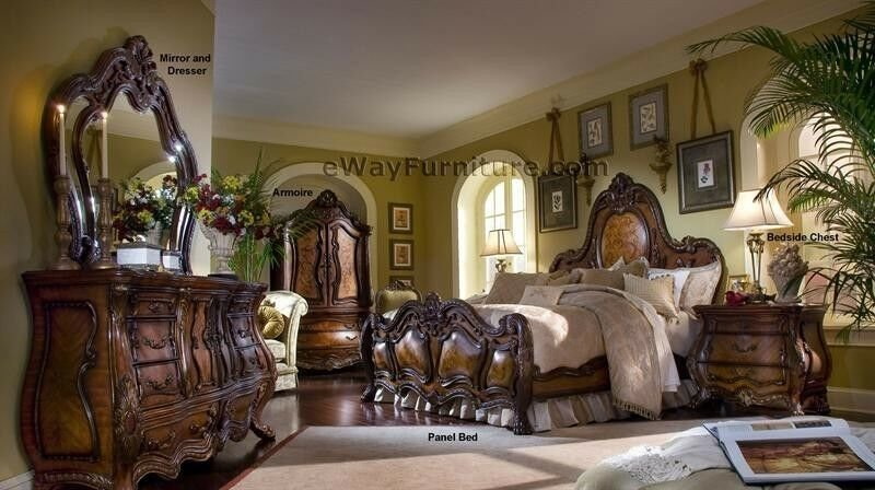 Best French Rococo King Bed 5Pc Set 2 Nightstands Dresser Mirror Bedroom Furniture Ebay With Pictures