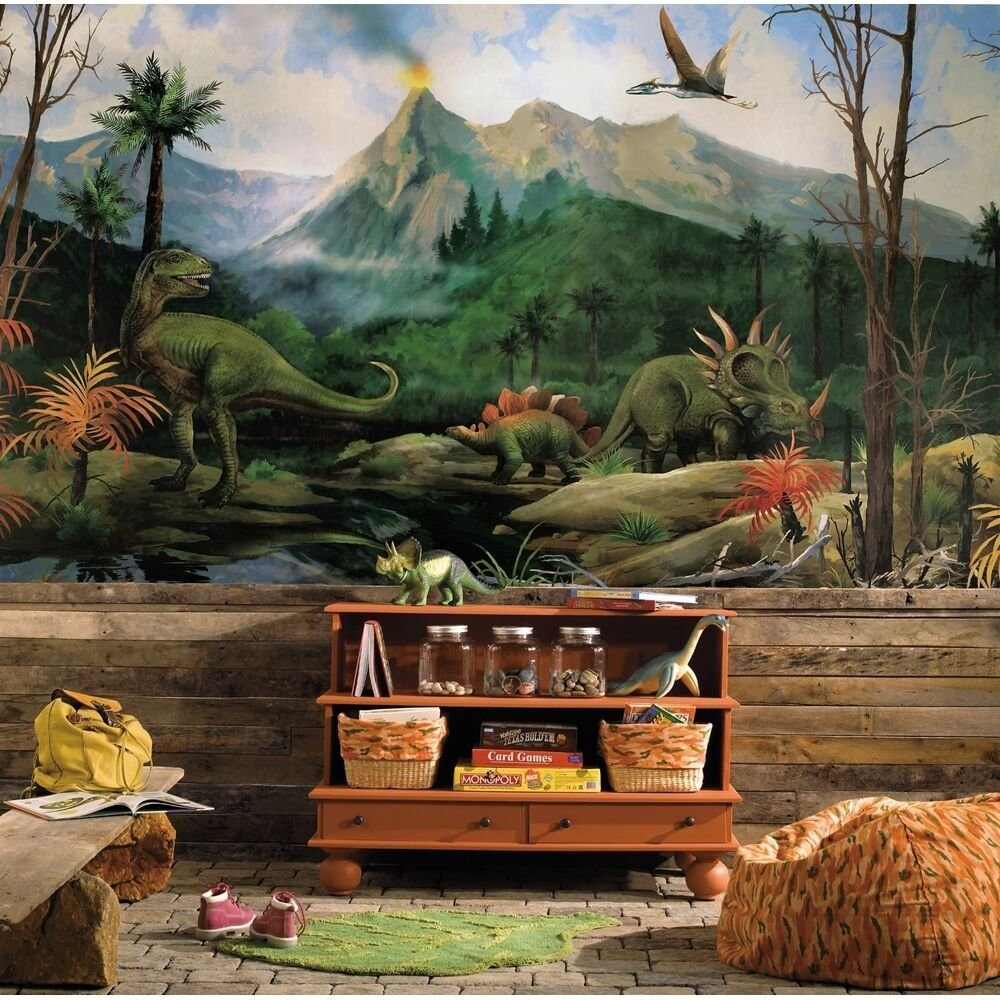 Best New Xl Dinosaurs Prepasted Wallpaper Mural Boys Bedroom With Pictures