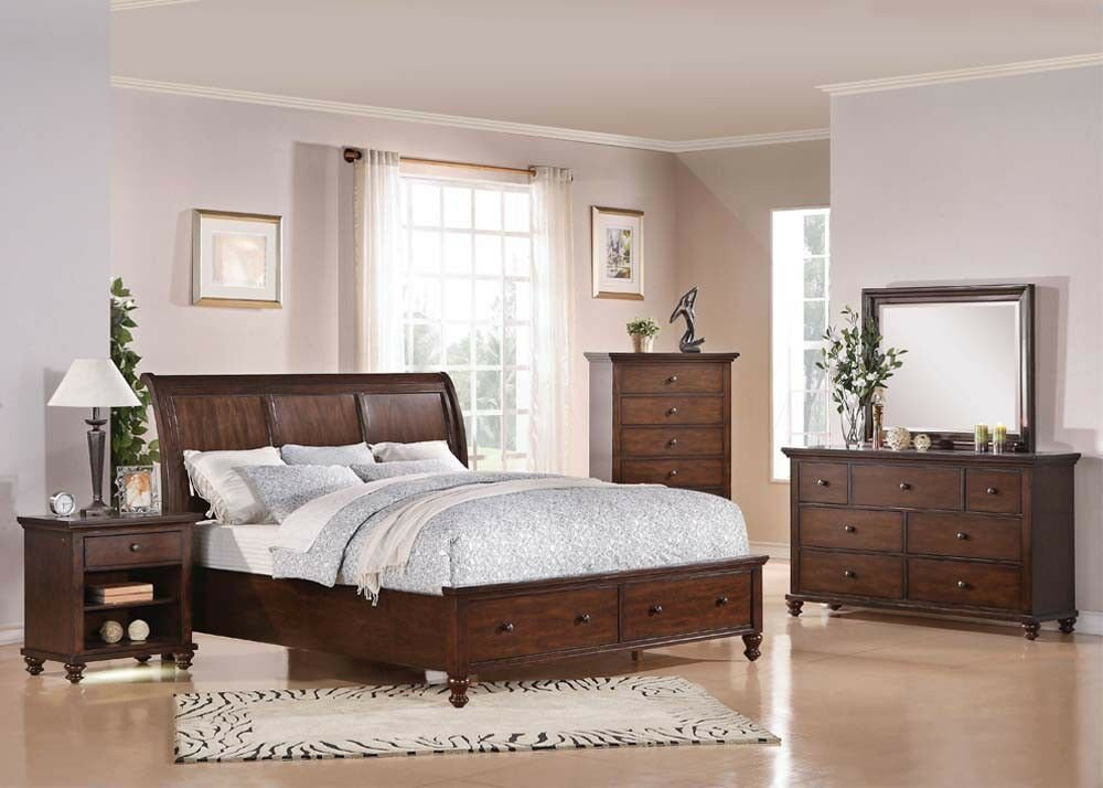 Best Bedroom Furniture King Or Queen Size 4Pcs Bed Set In Brown With Pictures