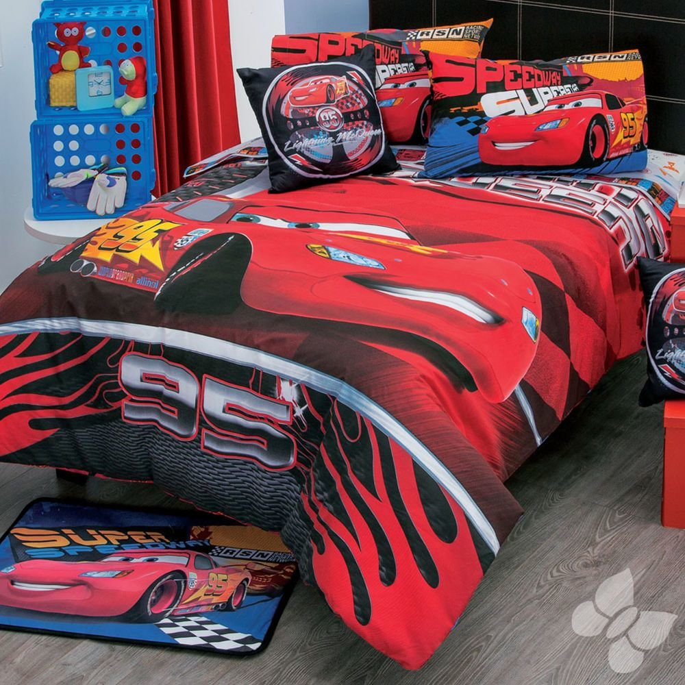 Best New Boys Disney Red Cars Comforter Bedding Sheet Set Ebay With Pictures