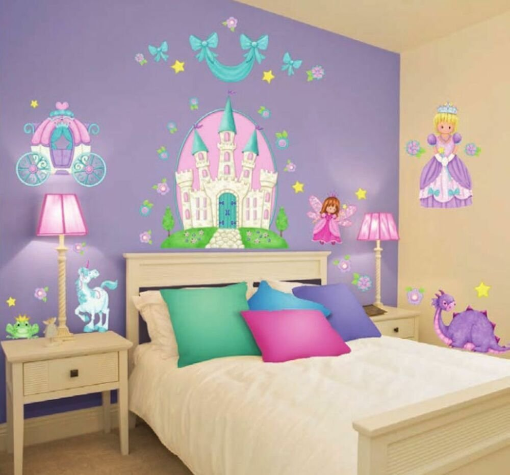 Best Giant Princess Wall Decals 37 Castle Carriage Fairy With Pictures