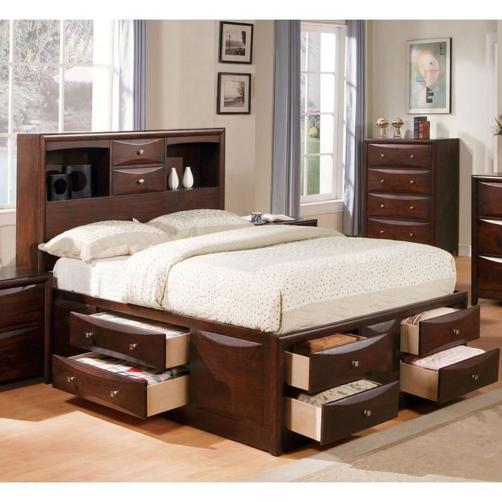 Best 1Pc Queen Size Bed Transitional Master Bedroom Wooden With Pictures