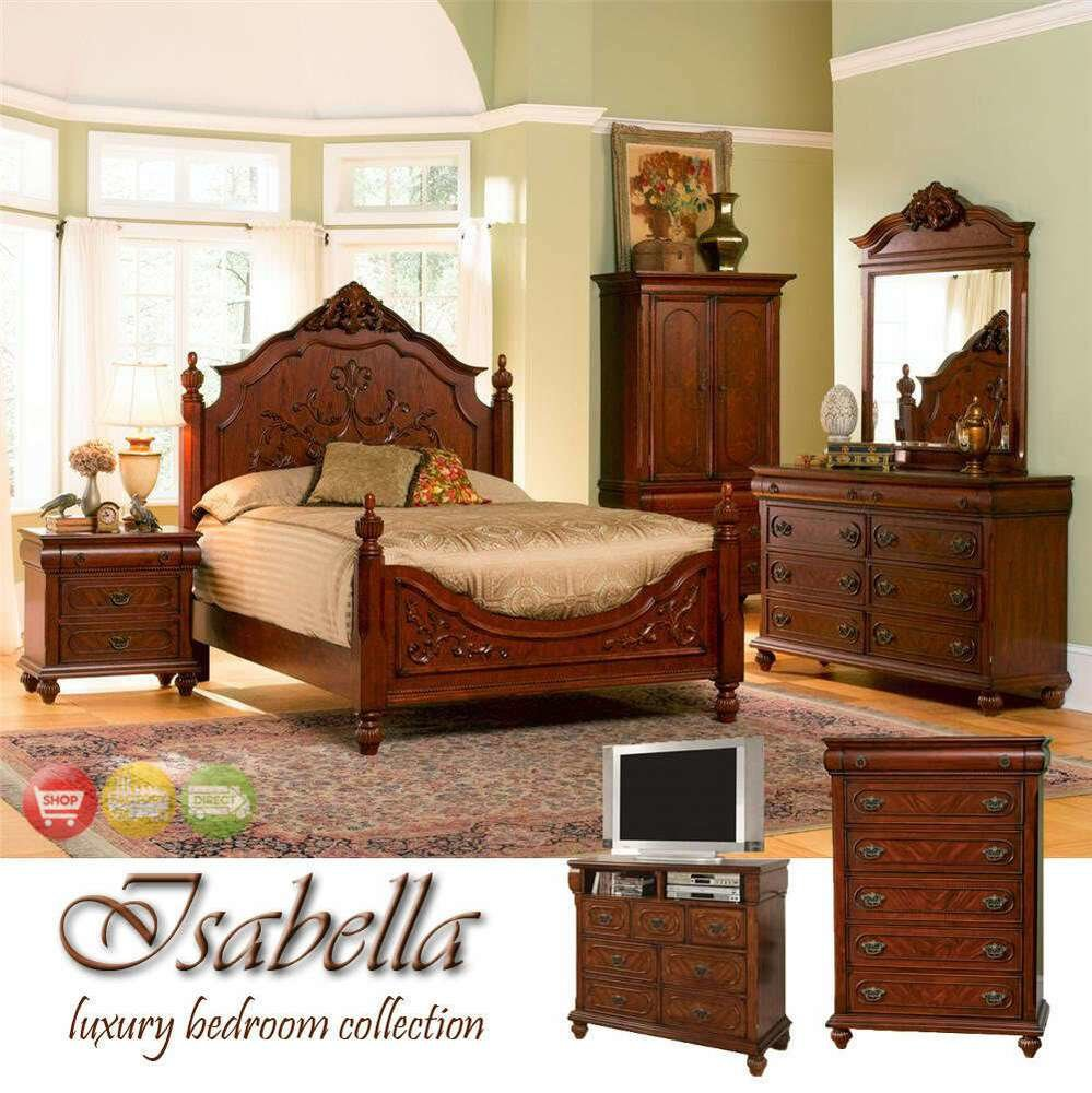 Best Ornate Queen Bed Wood Bedroom Furniture Set Suite New Ebay With Pictures