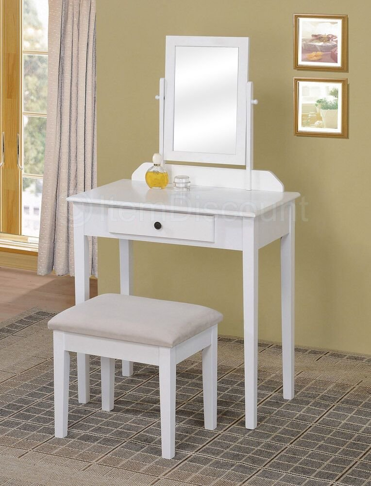 Best Contemporary White Bedroom Vanity Set Table Drawer Bench With Pictures