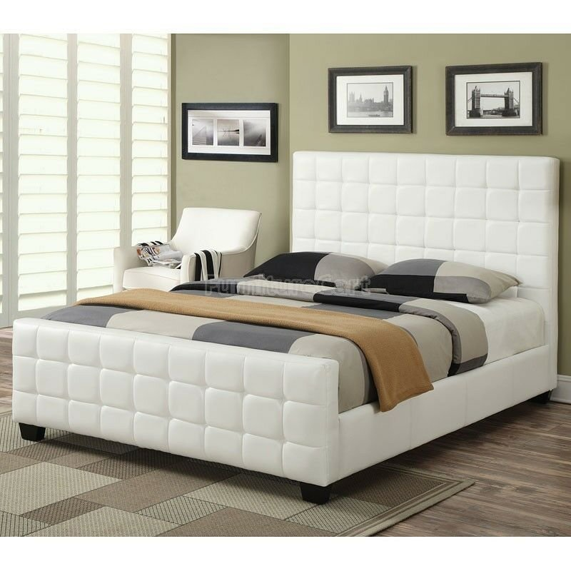 Best Cool Contemporary White Leatherette Tufted King Bed With Pictures