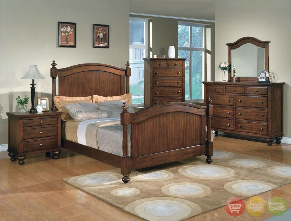 Best Sommer Traditional Queen Poster Bed 5 Piece Bedroom Furniture Set Walnut Finish Ebay With Pictures