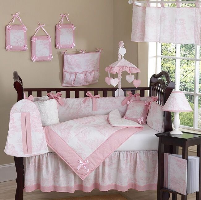 Best Luxury Boutique French Pink White Toile Discount 9Pc Baby With Pictures