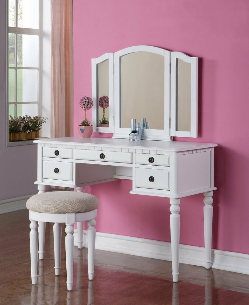 Best 3 Pc Beautiful Elegant Vanity Chair Desk Mirror Stool Makeup Room Set White Ebay With Pictures