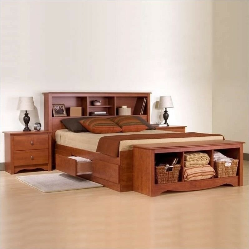 Best Prepac Monterey Cherry Queen Wood Platform Storage Bed 3 With Pictures