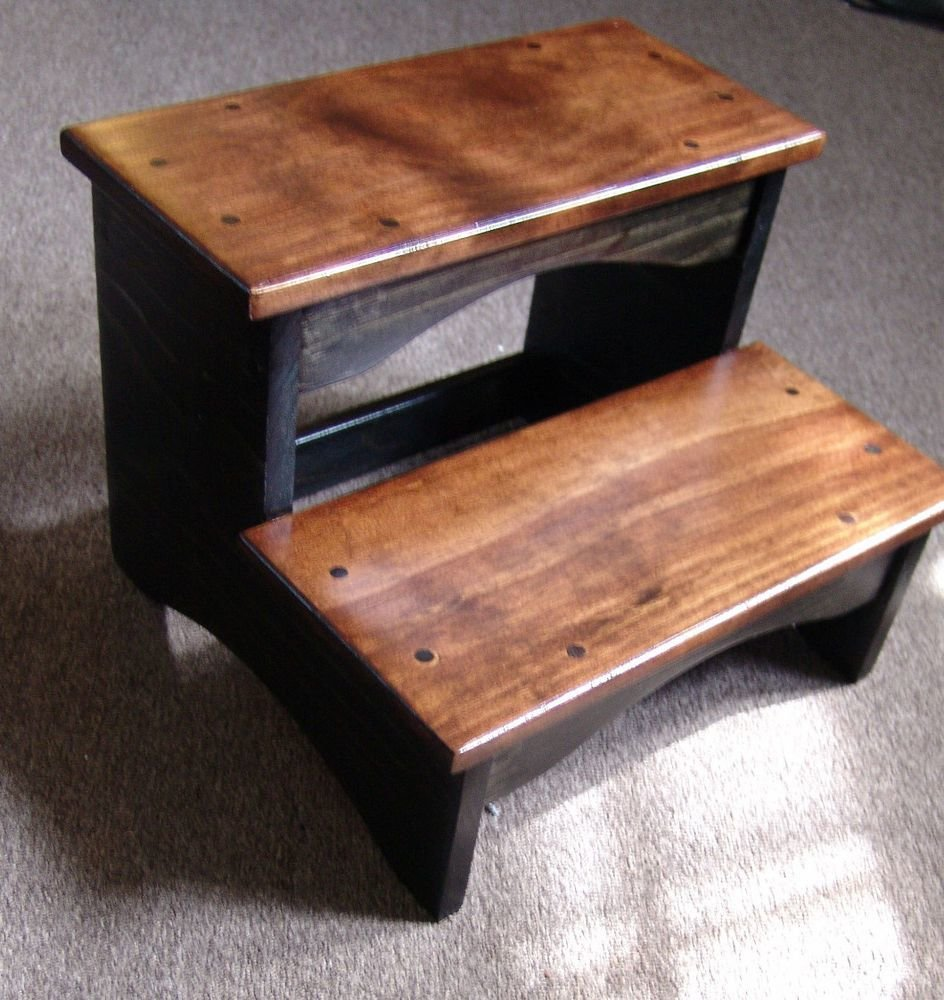 Best Handcrafted Heavy Duty Step Stool Wood Bedside Bedroom Kitchen Kids Black Brwn Ebay With Pictures
