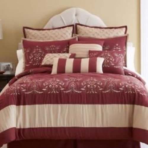 Best Jcpenney Leah 10 Piece Comforter Set Full Red Gold With Pictures