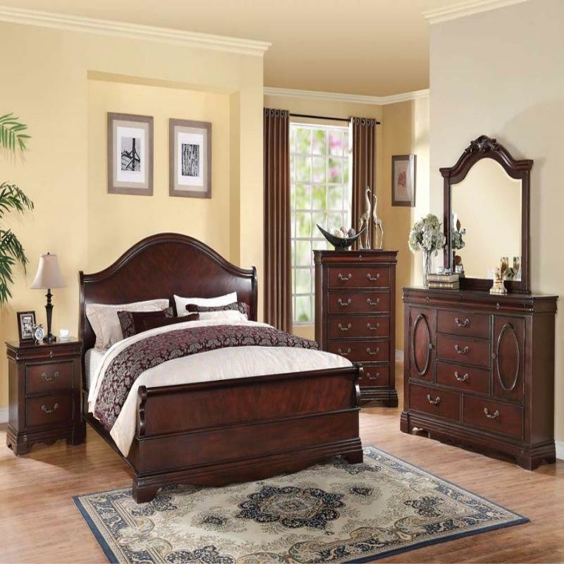 Best Formal Luxury Antique Beverly Cherry Queen Size 4 Piece With Pictures