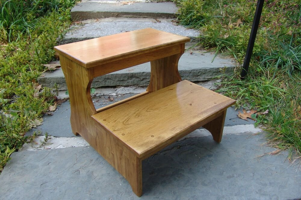 Best 16 5 Tall Handcrafted Safety Step Stool Solid Wood Bedroom Bedside Kitchen 20 Ebay With Pictures
