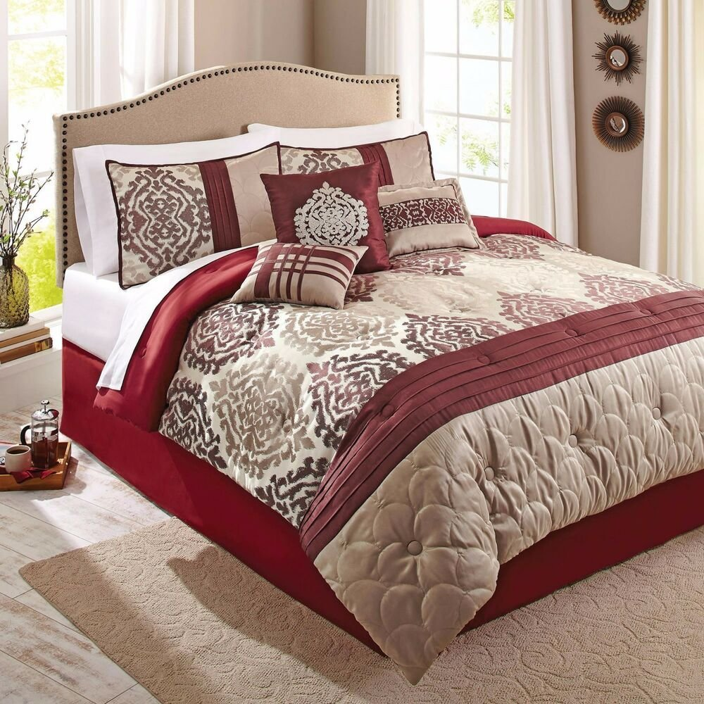 Best Scrollwork 7 Piece Red Beige Ikat Eye Catching Bedding With Pictures