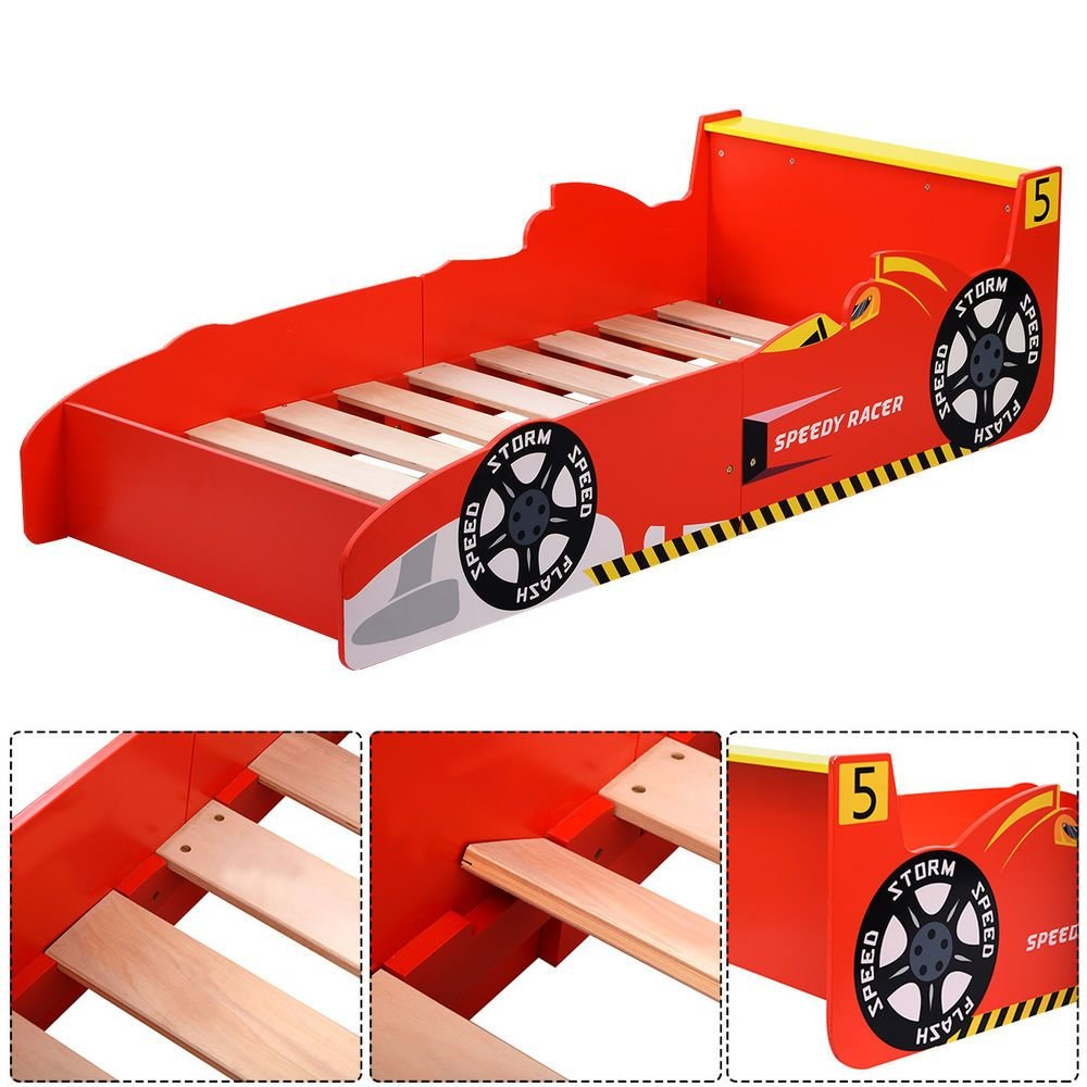 Best Kids Race Car Bed Toddler Bed Boys Child Furniture Bedroom Red Wooden New Ebay With Pictures