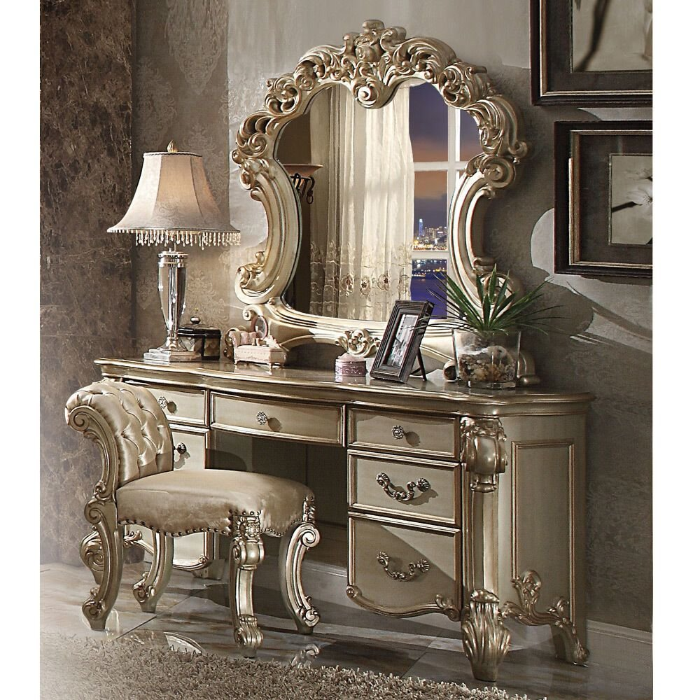 Best Vendome Bedroom Luxury Vanity Table Makeup Desk Mirror Scrolled Gold Patina Wood Ebay With Pictures