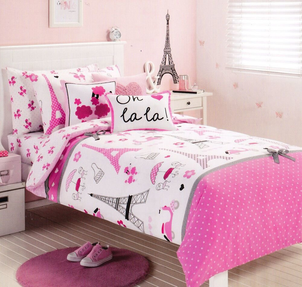 Best Pink Paris Eiffel Tower Single Twin Size Quilt Cover Set With Pictures