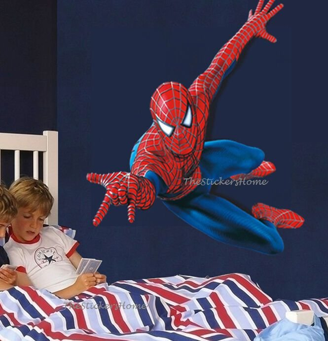 Best Huge 110 90Cm Spiderman Wall Stickers Children Boys Bedroom Mural Wallpaper Art Ebay With Pictures