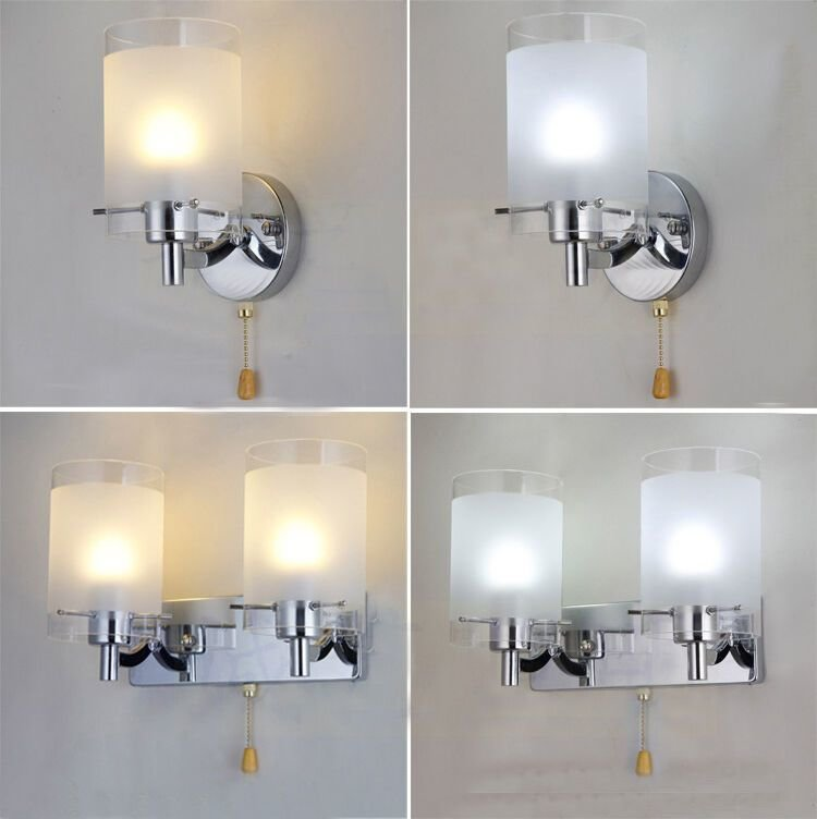 Best Modern Silver Chrome White Glass Indoor Wall Light Lamp With Pictures