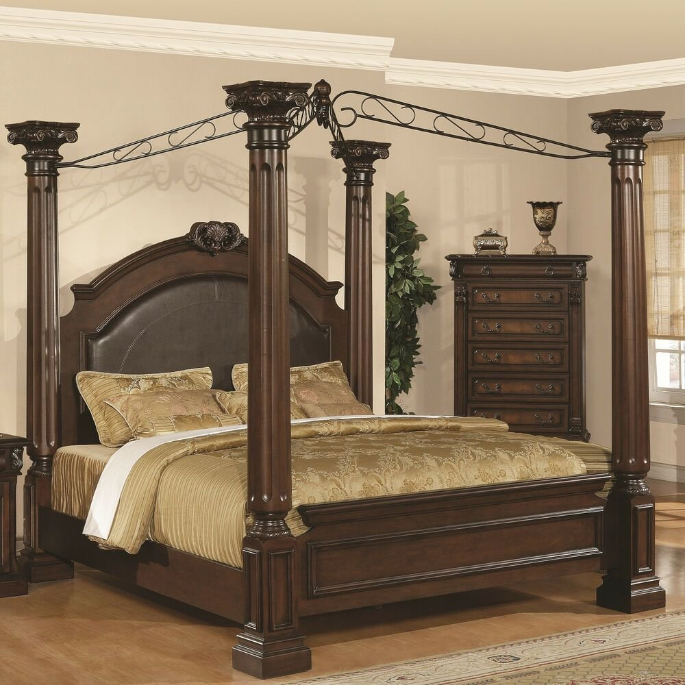 Best Formal King Size Four Poster Bed Solid Hardwoods Veneers With Pictures