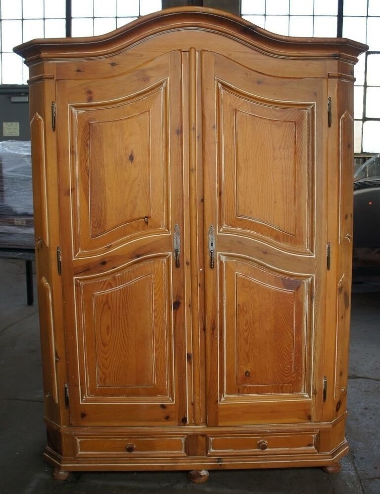 Best Vtg Distressed Pine Bedroom Clothing Armoire Country Wardrobe Garcia Imports Ebay With Pictures
