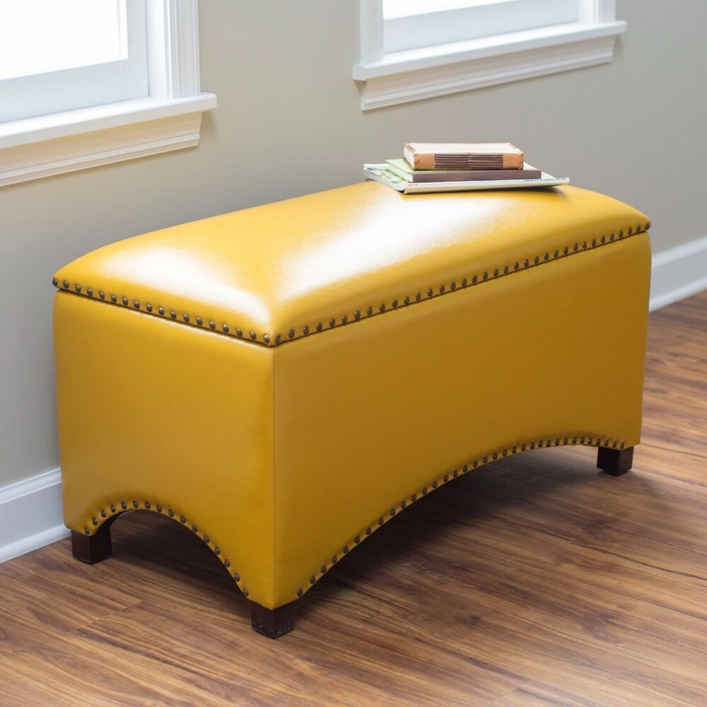 Best Leather Storage Bench Seat Bedroom Ottoman Upholstered With Pictures