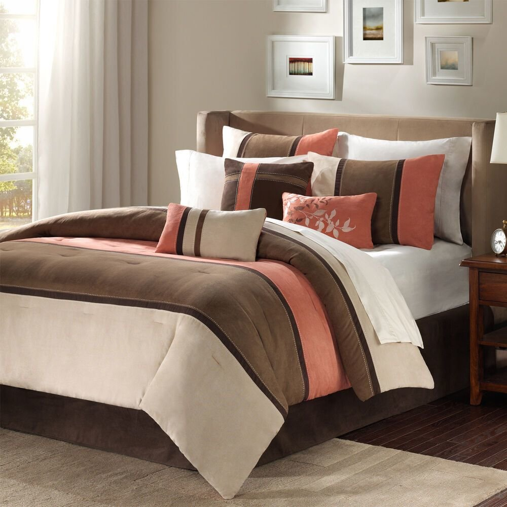 Best Beautiful Brown Coral Taupe Leaf Beige Modern 7Pc With Pictures