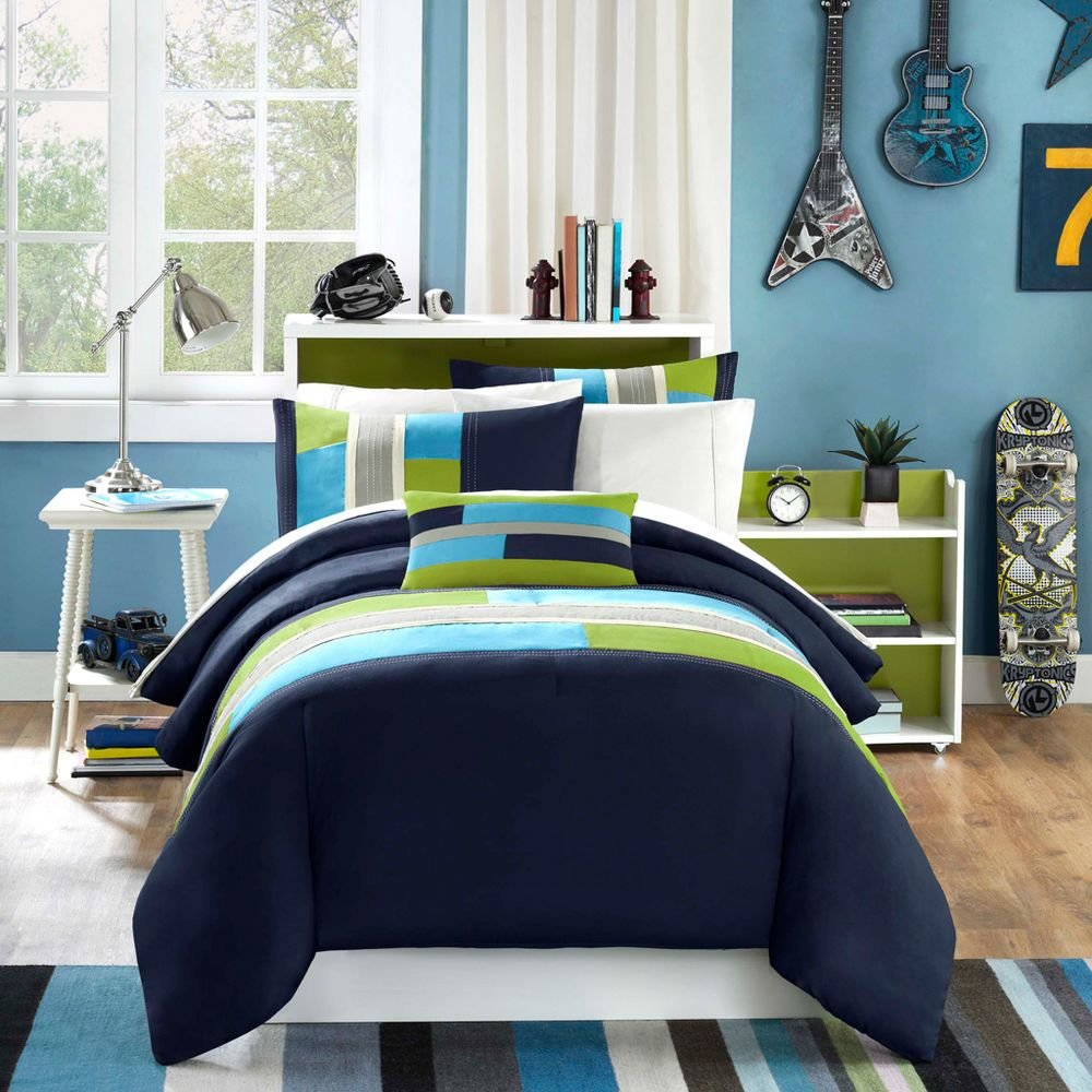 Best Modern Soft Navy Teal Aqua Blue Grey Stripe Boy Comforter With Pictures