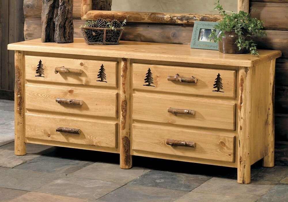 Best Custom Rustic Country Western 6 Drawer Dresser Cabin Log Bedroom Furniture Decor Ebay With Pictures