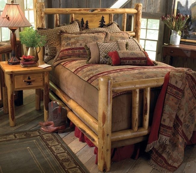 Best Custom Rustic Bed Frame Country Western Bedroom Cabin Log Wood Furniture Decor Ebay With Pictures