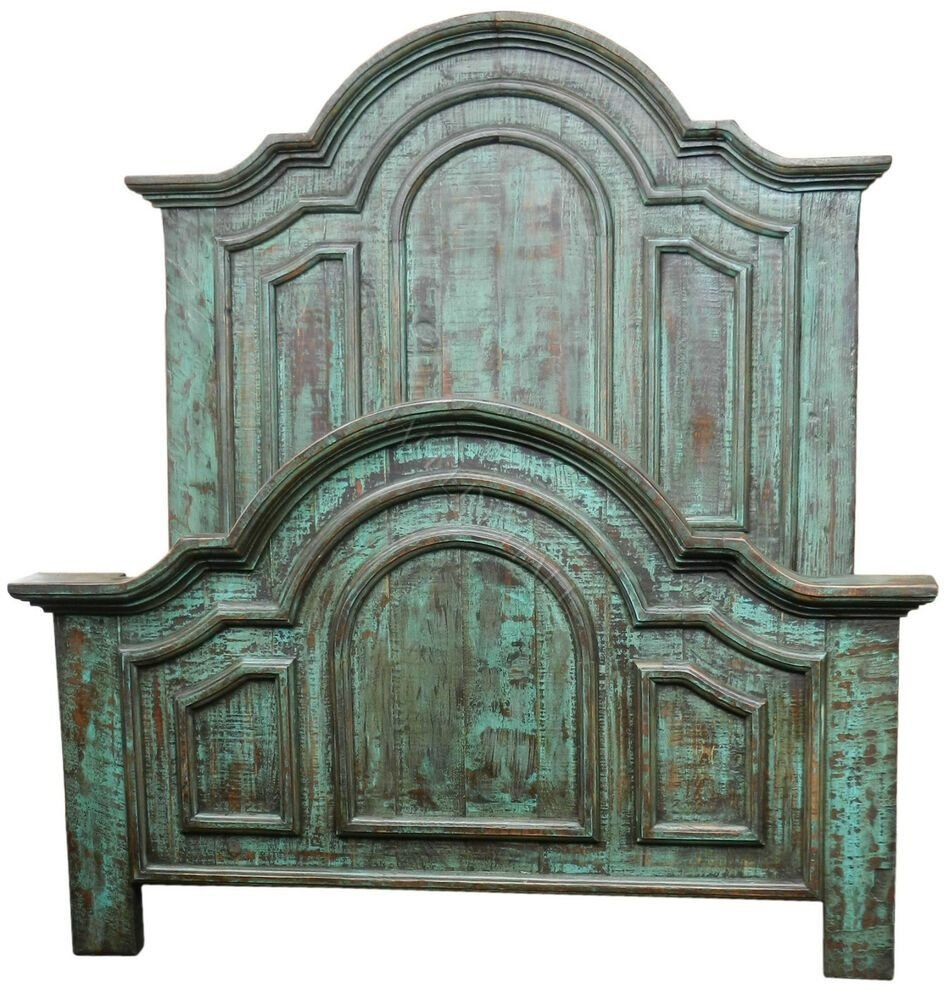 Best Distressed Turquoise Reclaimed Solid Wood Panel Bed In With Pictures