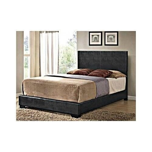Best Black Full Size Bed Headboard Faux Leather Bedroom With Pictures
