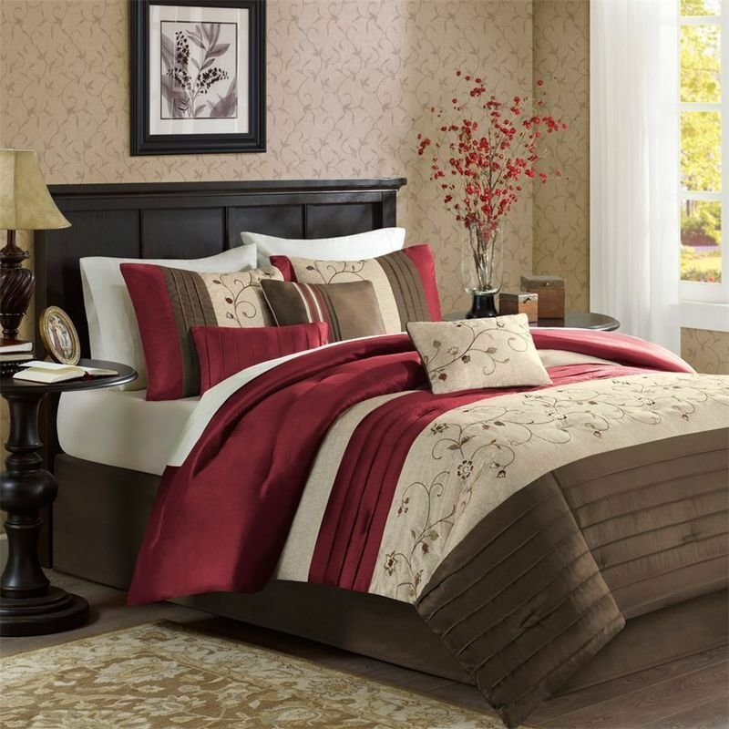 Best Beautiful Rich Elegant Red Brown Beige Comforter Set 7 With Pictures