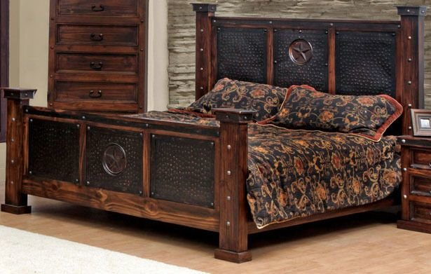 Best Copper Creek King Bed Rustic Western Free S H Dark Stain Metal Accents Ebay With Pictures