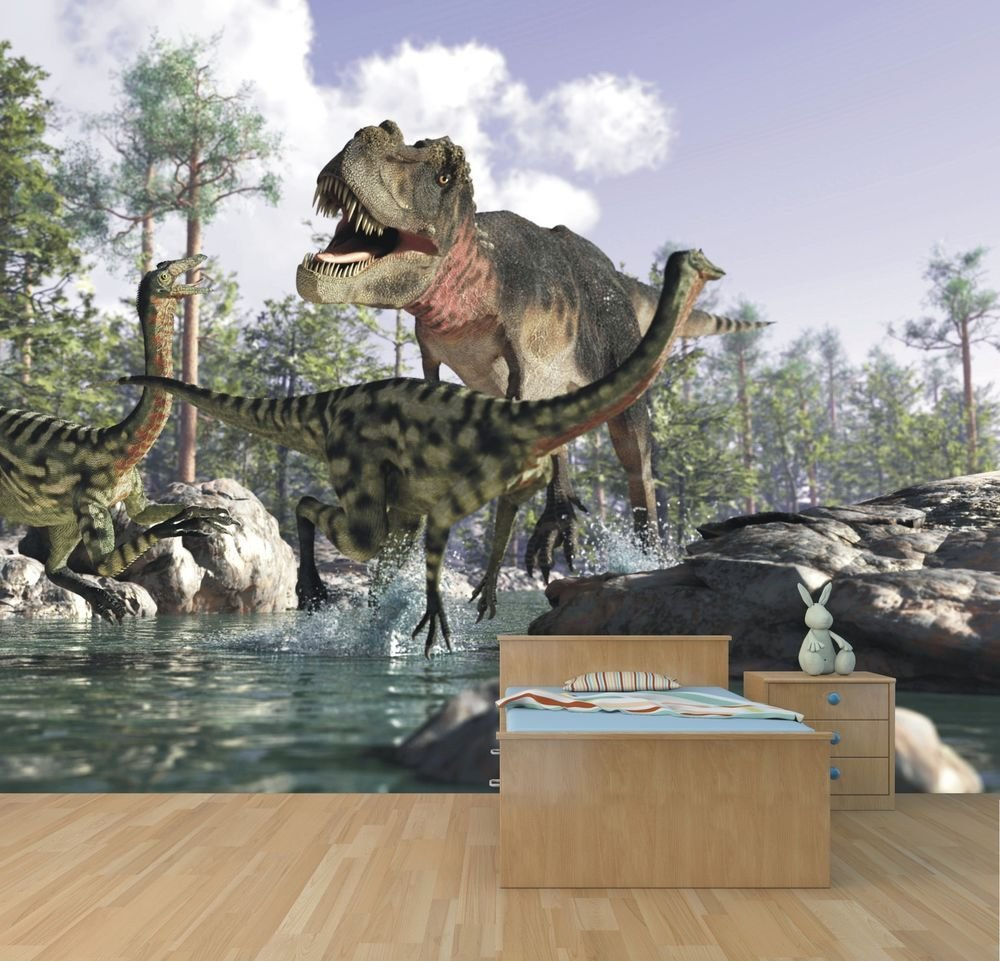 Best Dinosaur Wallpaper Mural Feature Wall Design Boys Bedroom With Pictures