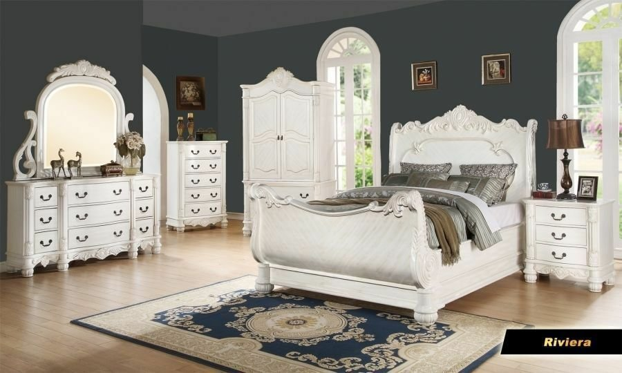 Best Riviera 6 Pc Antique White Queen Bed Armoire Mirror With Pictures